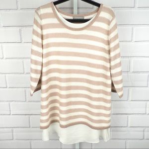 Neiman Marcus XL striped cashmere blend sweater